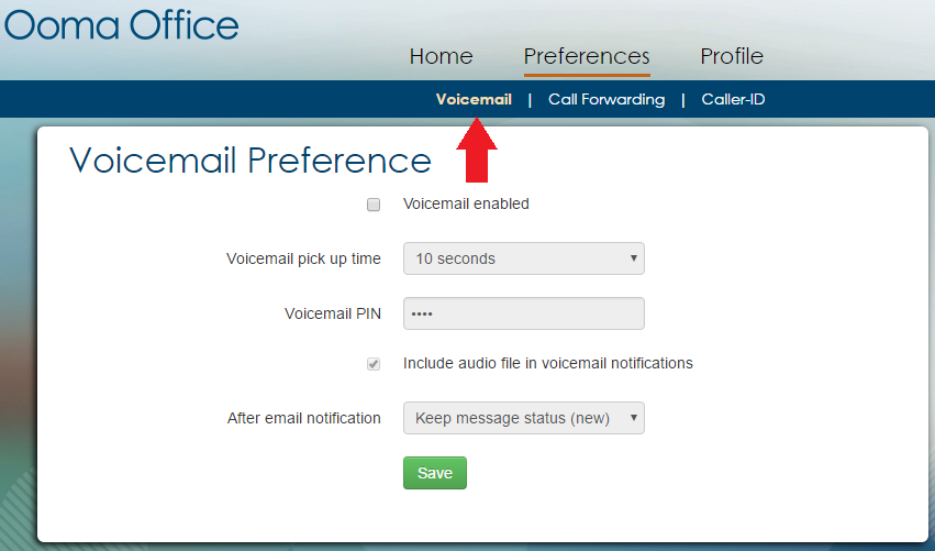 voicemail preferences