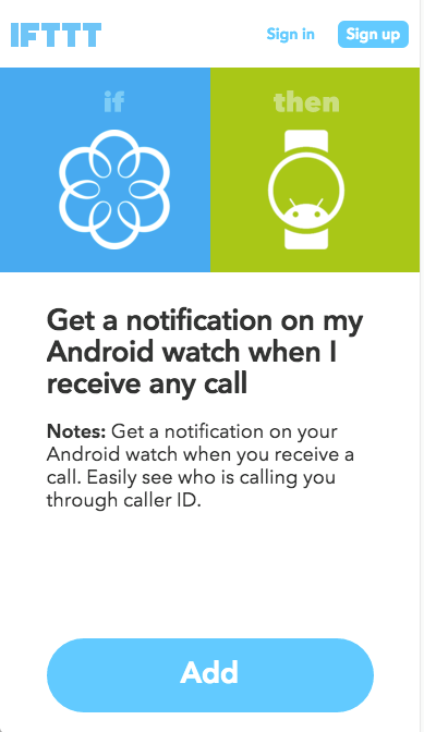 Android recipe confirm add IFTTT