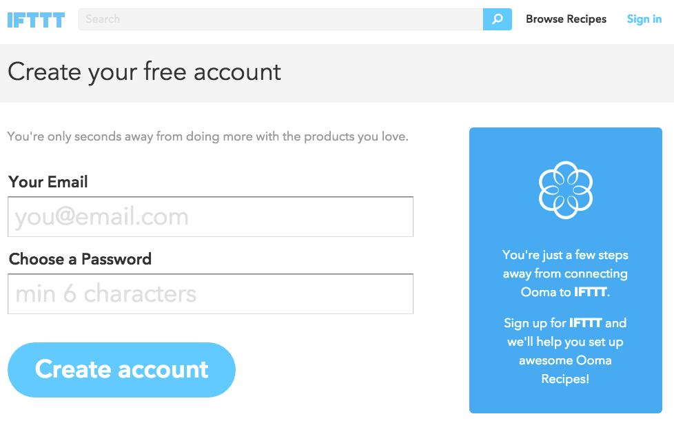 create account IFTTT