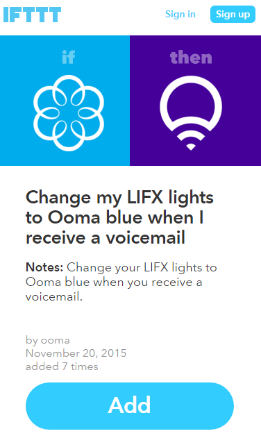 LIFX recipe confirm add IFTTT