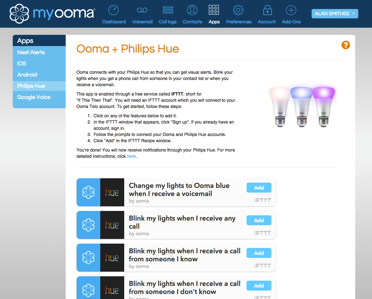 Philips Hue recipes IFTTT