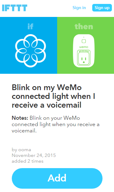 WeMo recipe confirm add IFTTT
