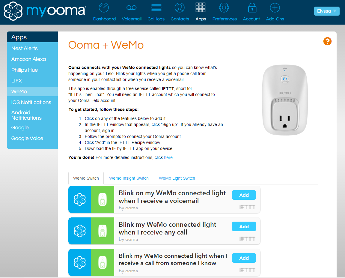 WeMo recipes IFTTT