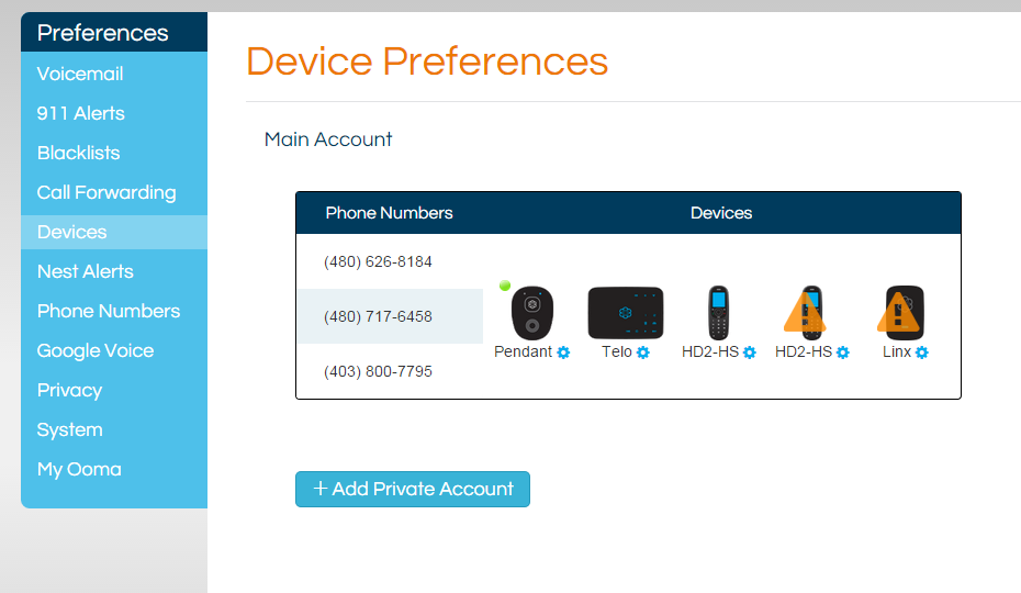 devices page