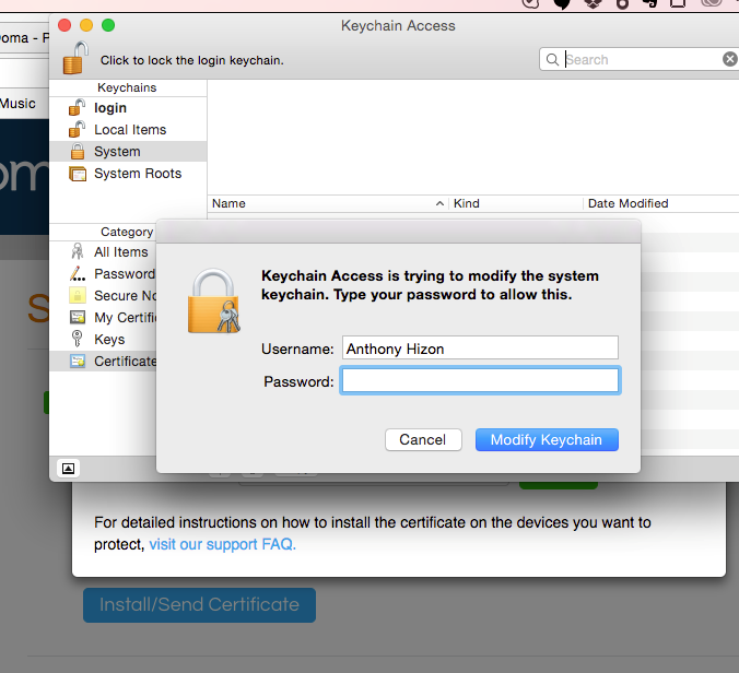 mac keychain access popup