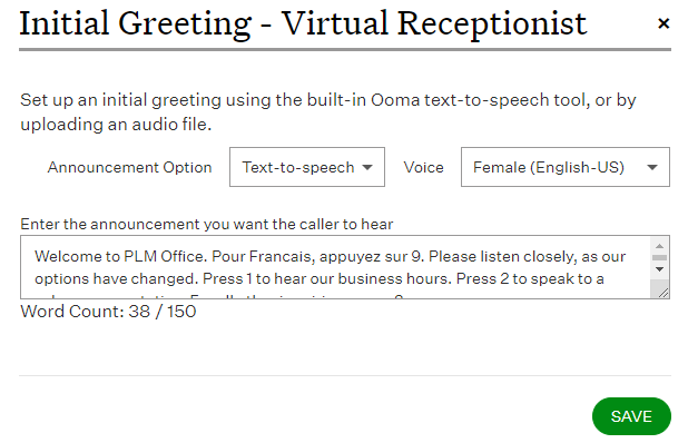 Virtual receptionist greeting options ooma office support how long can my text to speech greeting be m4hsunfo