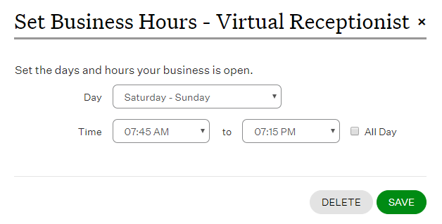 set business hours